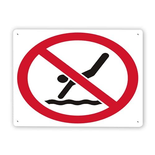 Señal de advertencia,Las reglas de la piscina no firman ningún símbolo de buceo,Señal de tráfico Señal de carretera Señal de empresa 8x12 Inch Cartel de chapa de metal de aluminio