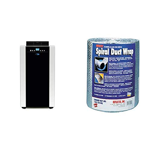 Whynter ARC-14SH 14,000 BTU Dual Hose Portable Air Conditioner & Heater with Activated Carbon Filter plus Storage bag, Platinum And Black|Black & Reflectix DW1202504 Spiral Duct Wrap, Silver
