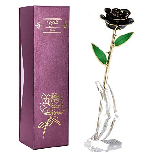 ZJchao 24K Black Rose for Her, Dipped Gold Rose Eternity Love Real Golden Plated Preserved Eternal Flower with Rose Stand Present for Wife/Girlfriend/Lover (Black)
