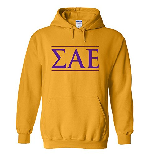 Sigma Alpha Epsilon SAE Logo Hooded Sweatshirt Large Gold