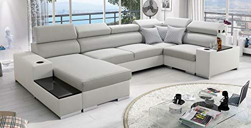 Großes Ecksofa Wohnlandschaft Porte Abstellfläche Polstersofa Couch XXL Sofa 26 (Links)