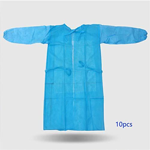 10 pezzi tuta monouso antipolvere traspirante abito non tessuto isolamento antistatico abbigliamento camice da laboratorio antivegetativo - azzurro