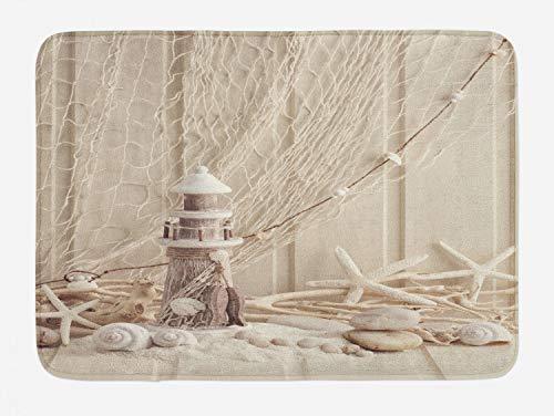 Ambesonne Fishing Net Bath Mat, Marine Theme Sea Stars and Shells Underwater Life Wooden Lighthouse Print, Plush Bathroom Decor Mat with Non Slip Backing, 29.5' X 17.5', Beige Cream