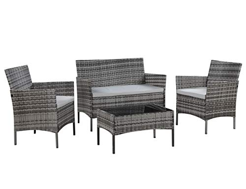 Salbay Rattan Garden Furniture Set Patio Conservatory Indoor Outdoor 4 piece set table chair sofa (Grey)