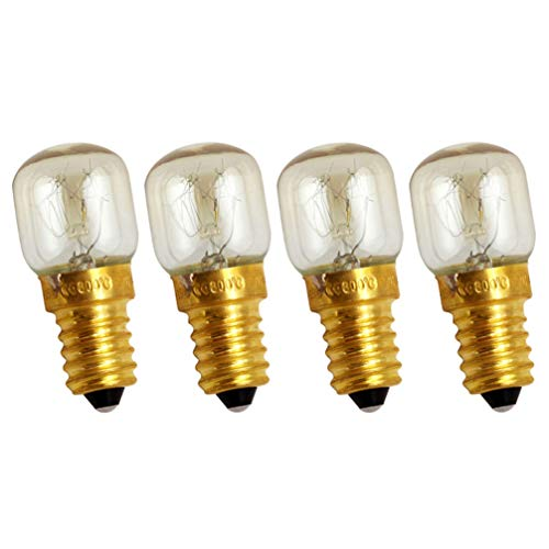 PIXNOR 4Pcs Oven Light Bulbs 25W Appliance Replacement Bulbs High Temp for Oven Stove Refrigerator Microwave Incandescent E14 Screw Base Oven Parts Accessories (Warm White)