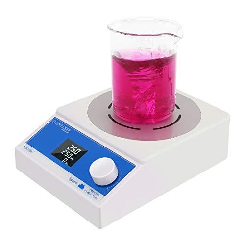 ANZESER Magnetrührer mit LCD Display und Timing Funktion, Präzise Steuerung bei Niedriger Geschwindigkeit, Rührgeschwindigkeit 250-2000 UpM, Maximaler Rührvolumen 3500 ml, mit Magnetrührstab