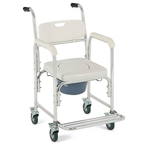 Thaweesuk Shop New White Transport Portable Medical Commode Wheelchair Bedside Toilet Shower Chair Padded Rolling Seat Bathroom Aluminum Frame 22