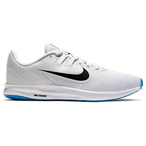 Nike Downshifter 9, Zapatillas de Atletismo Hombre, Multicolor (White/Black/Pure Platinum/Blue Hero 100), 46 EU