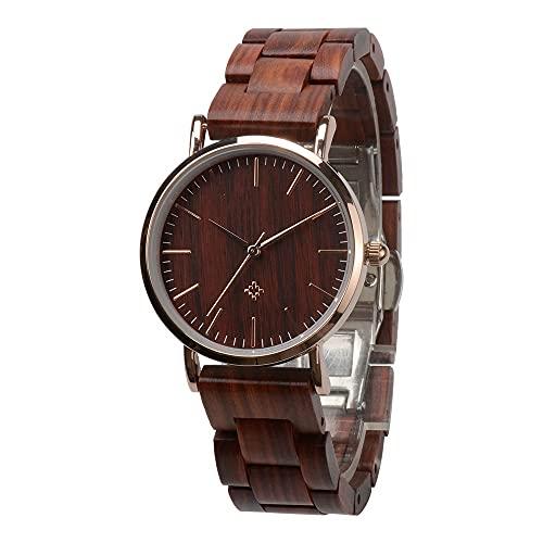 yuyan Reloj de Madera para Hombres, Movimiento de Cuarzo analógico Minimalista, Sano y Respetuoso con el Medio Ambiente, Correa de sándalo Rojo Ajustable Natural, Hombres.