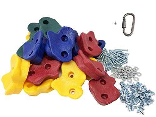 """20 Premium Large Textured Kids Rock Climbing Wall Holds with Quality 2"""" Mounting Hardware + Carabiner Clip + Installation Guide w Video!"""