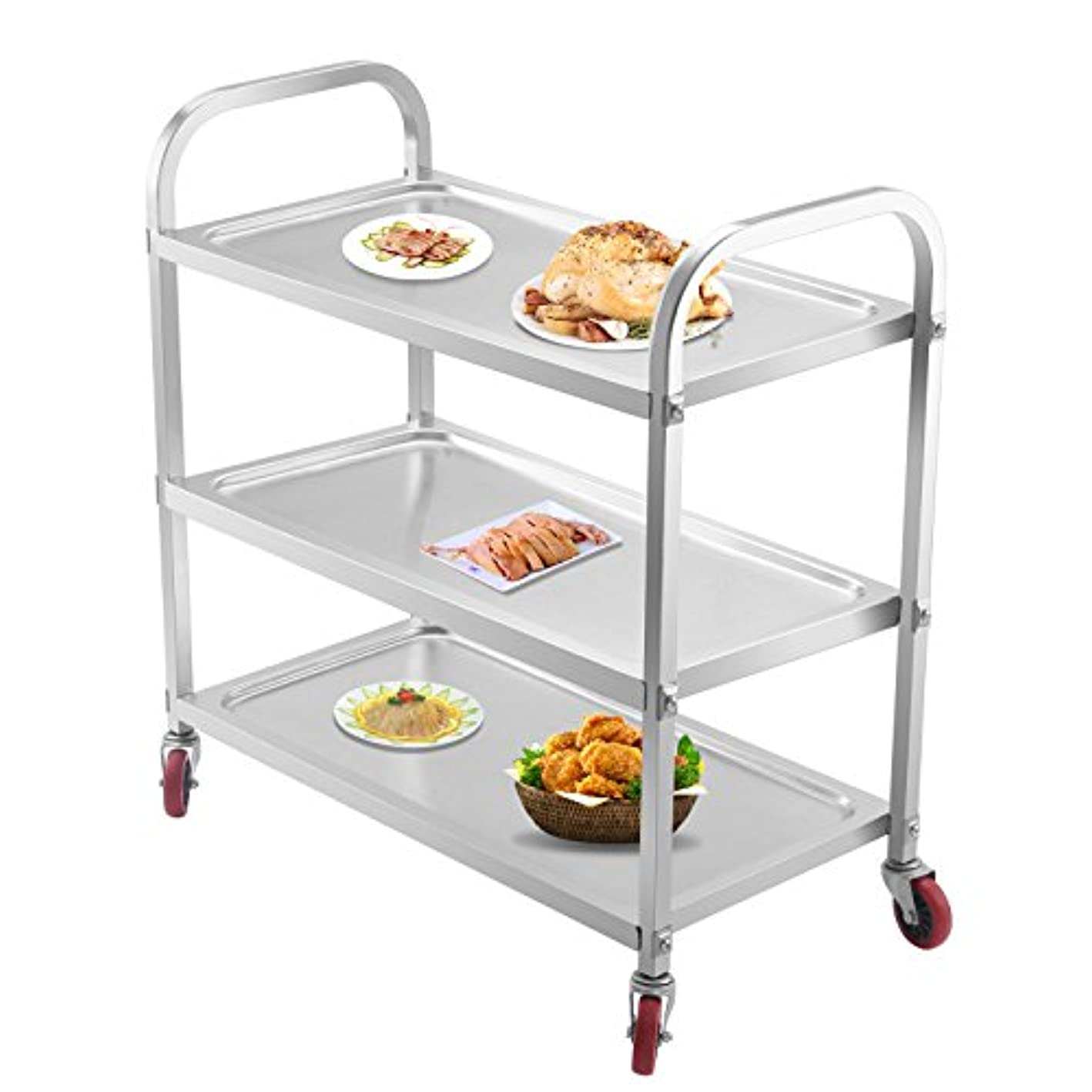Superland 3 Shelf Utility Cart 264Lbs Stainless Steel Cart with Wheels Commercial Bus Cart for Kitchen Commercial Hotel Restaurant Dining Area Utility Serving (3 Shelf)