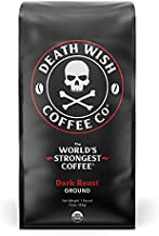 DEATH WISH COFFEE Ground Coffee Dark Roast [16 oz.] The World's Strongest Coffee - Organic, Fair Trade, Strong Coffee Grounds from Arabica, Robusta (1-Pack)