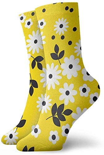 wwoman Novelty Funny Crazy Crew Sock Naive Simple Yellow Geometric Orange Flower Pattern Printed Sport Athletic Socks 30cm Long Personalized Gift Socks