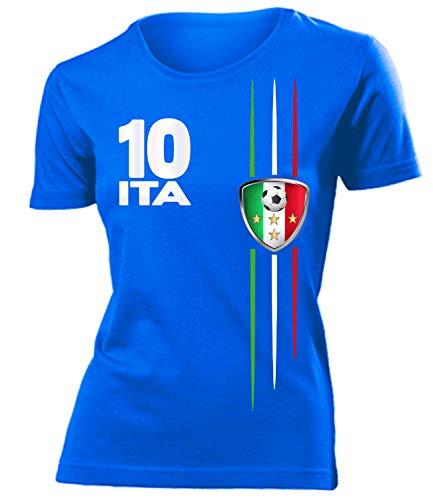 Italien Italia Italy Fanshirt Fussball Fußball Trikot Look Jersey Damen Frauen t Shirt Tshirt t-Shirt Fan Fanartikel Outfit Bekleidung Oberteil Hemd Artikel