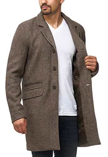 Indicode Herren Ilchester Wollmantel mit Stehkragen einfarbig, melliert oder im Tweed Karo-Muster | Herrenmantel Wintermantel Lange Übergangsjacke Winterjacke Mantel für Männer Demitasse Mix S