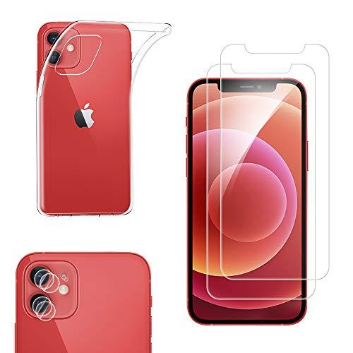 """Qoosea Funda iPhone 12 6.1""""+ 2 Pack Cristal Templado Protector de Pantalla + 2 Pack Protector de Lente de Cámara, Silicona Transparente TPU Anti-arañazos Carcasa Cover para iPhone 12 6.1"""""""