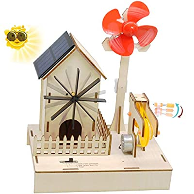 Wooden Electricity Generating Science Experiment Kit | Build Wind-Powered,Solar Energy,Hand Crank Generators to Rotate Windmill | Educational STEM Toys for Adults,Teens and Kids Age 8+ (3 Modes)