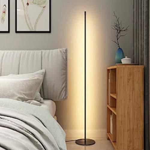 UFLIZOGH Stehlampe LED moderne 16W Stehleuchte 150CM 1 Farbtemperaturen 3000 Kelvin 1200 Lumen Augenschutz Bodenleuchte für Wohnzimmer (Schwarz, Warmweiß)