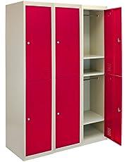 MonsterShop - 3 Taquillas para Ensamblar con 2 Puertas Rojas de Acero 45cm x 114cm x 180cm para Escuelas, Gimnasios y Vestuarios