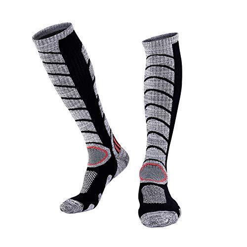 BenBoy Calcetines Térmicos de Esquí para Hombre Mujer Cálidos Altos Invierno Calcetines de Nieve Snowboard Senderismo,WZ3327-Black-L