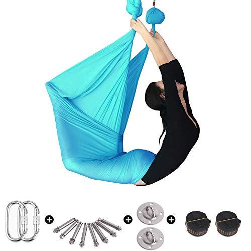 Sinbide Yoga Hängematten Ultra Starke Antigravity Yoga Schaukel Luft Trapez Kit - Inversionsübungen, Verbesserte Flexibilität & Kernfestigkeit - Montagezubehör Inklusive Anti-Schwerkraft (blau)