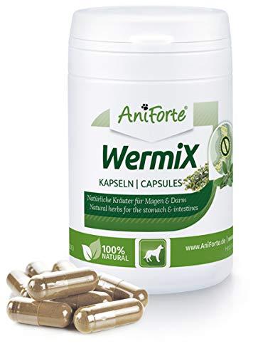 AniForte WermiX für Hunde 50 Kapseln - Naturprodukt vor, während und nach Wurmbefall und Wurmkur mit Saponine, Bitterstoffe, Gerbstoffe, Wermut, Naturkräuter harmonisieren Magen & Darm