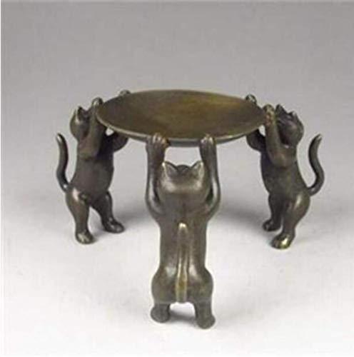 Zoharm Copper Satue Chinesische Bronzeplatte Katzen Tier 3 Katzen Öllampe Kerzenhalter Kerzenständer Statue