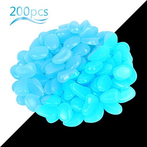 ZoomSky Piedras Luminosas Azul 200pcs Stone Brillante Roca Fluorescente Adorno pecera para Decorar jardín hogar Botella Maceta Acuario balcón Pared Piscina y Lago y identificar vereda en Patio
