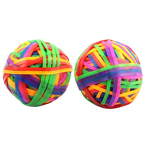 Framendino, 200 Pack 2 Rolls Elastic Rubber Band Balls Stretchable Colorful Elastic Band Balls for Arts Crafts Document Office Supplies Organizing