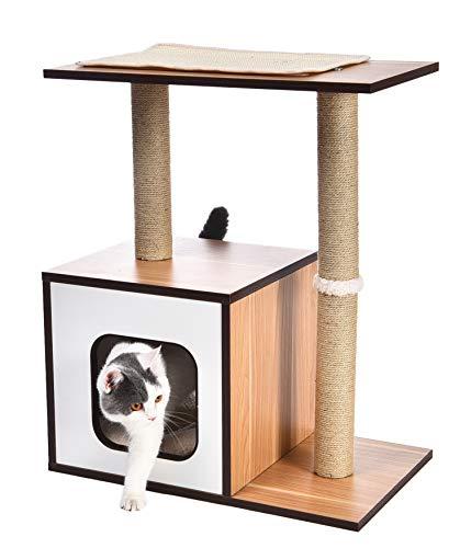 Amazon Basics - Mueble de árbol de madera con dos postes rascadores para gatos, 61x38,1x73,7 cm