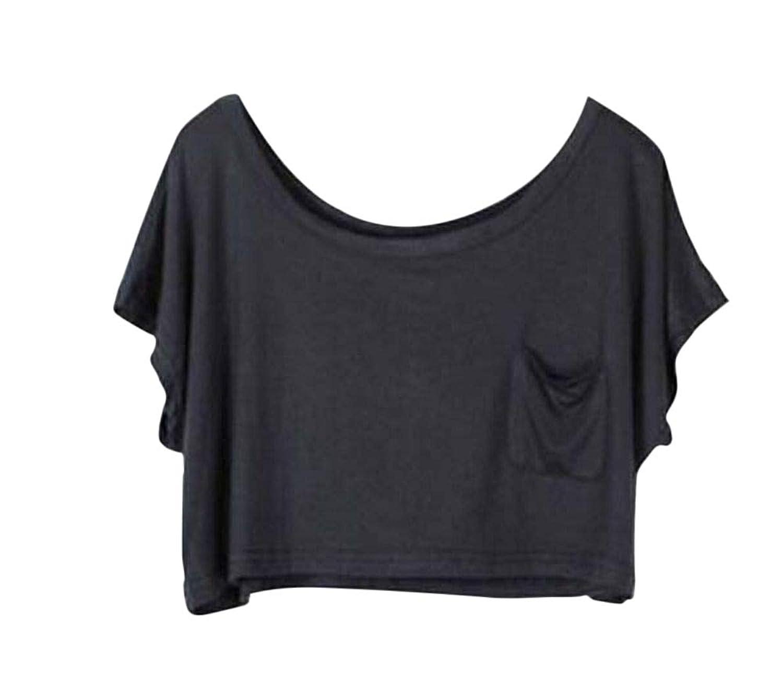 Plus Nao(プラスナオ) ショート丈Tシャツ クロップドTシャツ 半袖Tシャツ レディース トップス Tシャツ 無地 半袖 胸ポケット ラウンドネッ