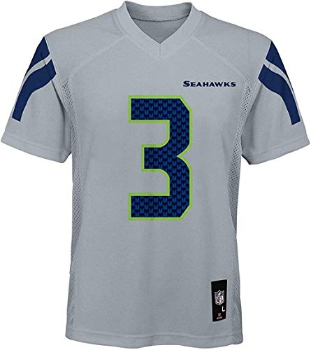 Outerstuff Russell Wilson Seattle Seahawks NFL Boys Youth 8-20 Gray Alternate Mid-Tier Jersey (Youth Large 14-16)