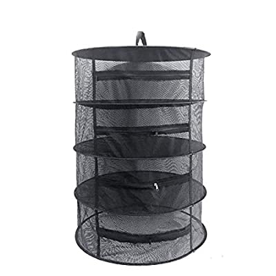 "Herb Drying Rack Net 4 Layer Herb Dryer Black Mesh Hanging Dryer Rack with Zipper (31.5""x24"")"