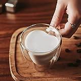 Taza de cristal con forma de corazón, taza de té de kungfu resistente a la pared, taza de té de leche, zumo de limón, bebida, taza de café, taza de regalo (capacidad: 240 ml, color: 4 piezas)
