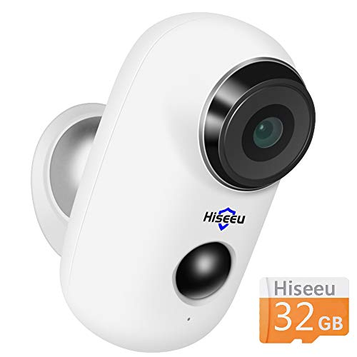Wireless Rechargeable Battery Powered WiFi Camera with 32GB SD Card, Home Security Camera, Night Vision, Indoor/Outdoor, 1080P Video with Motion Detection, 2-Way Audio, Waterproof, Also Cloud Storage