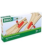 BRIO World 33344 Mekaniska växlar | Mechanical Switches 2 delar. Leksakstågstillbehör i trä. För barn från 3 år. För små järnvägsbyggare.