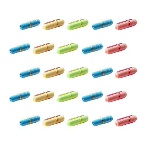 Gadpiparty 99Pcs Mini Pille Geformte Nachricht Flaschen Kapsel Brief Freundschaft Wunschflaschen mit Papierrolle für Hochzeitsfeier Begünstigt Dekoration