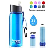 joypur Water Filter Bottle, BPA Free Water Purifier with 4-Stage Intergrated Filter Straw for Camping, Hiking, Travel Abroad, Emergency, Backpacking, Survival with Replaceable Filter, Blue (1pack)