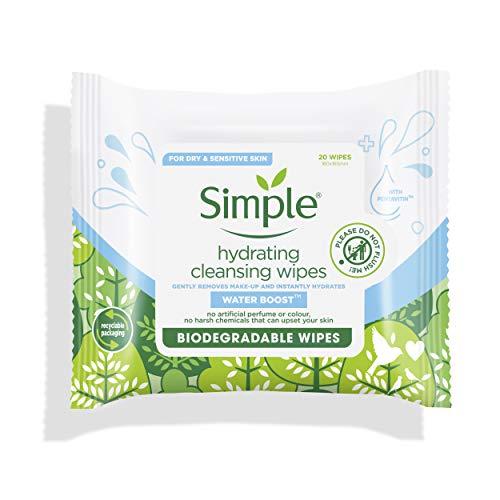 simple Simple Toallitas Biodegradables de Limpieza Facial Water Boost, Blanco, 20 Unidades