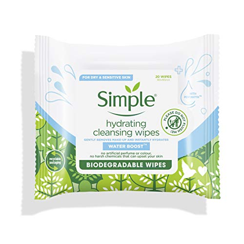 Simple Toallitas Biodegradables de Limpieza Facial Water Boost 20 Unidades