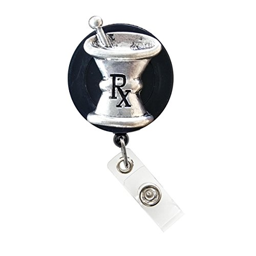 New Custom Bling Rhinestone Medical Field ID Badge Pull Reels Retractable ID Badge Holders (3D Mortar and Pestle_Silver)