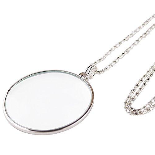 Fyxd 10 keer Vergrootglas Metalen opknoping Ketting Draagbare Jade Sieraden Oude Man Lezen Moederdag Vaderdag Gift ZILVER