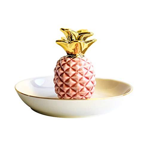 FiedFikt Vergoldeter Schmuck-Organizer Teller Schmuckhalter Servierplatte Ananas Tischplatte Halskette Aufbewahrung Teller Schmuck Display Keramik Tablett rose
