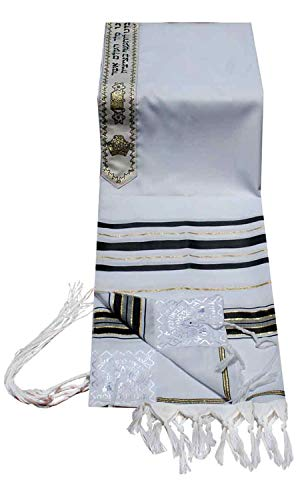 Talitnia Acrylic Tallit (Imitation Wool) Prayer Shawl Black and Gold Stripes in Size 18' Long and 72' Wide