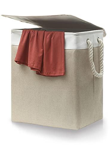 Cubo para la Ropa Sucia con Tapa Removible - Beige - De Tela - Con Asas de Transporte - Plegable - 60 L