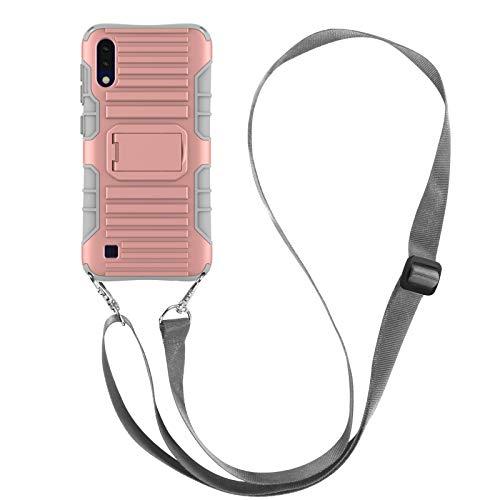 JammyLizarD Outdoor Hülle kompatibel mit Samsung Galaxy M10 / A10 2019 Schutzhülle mit Handyband [Taurus] Doppelschutz Hardcase Silikon TPU Skin, Rose Gold
