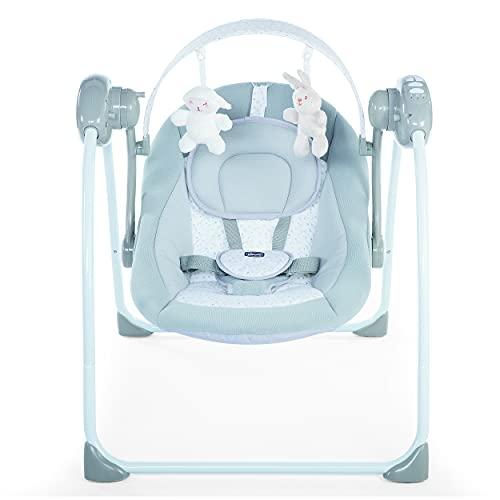 Chicco Relax & Play - Balancín electrónico para bebés Desde 0 Meses hasta 9 kg, balancín Ajustable con 5 velocidades, Arco de Juego con 12 melodías y 2 Peluches, Cierre Compacto, Color Gris