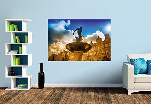 Premium Foto-Tapete Poseidon Brunnen Danzig (versch. Größen) (Size S | 186 x 124 cm) Design-Tapete, Wand-Tapete, Wand-Dekoration, Photo-Tapete, Markenqualität von ERFURT
