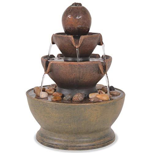 FesjoyFuente de Agua Interior con Luces LED para mesas, Jardines y Patios, diseño Artesanal, atmósfera meditativa, 17.5 x 17.5 x 23 cm