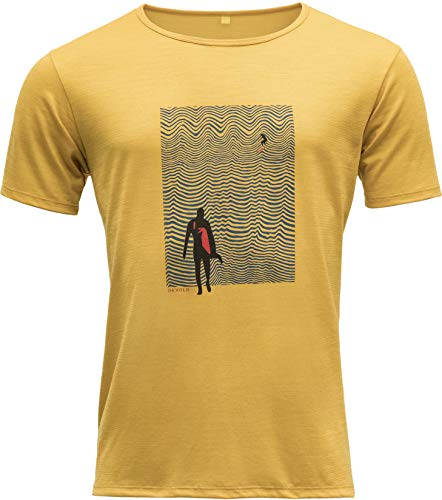 Devold Hoddevika Man Tee Gelb, Herren Merino T-Shirt, Größe XL - Farbe Arrowwood